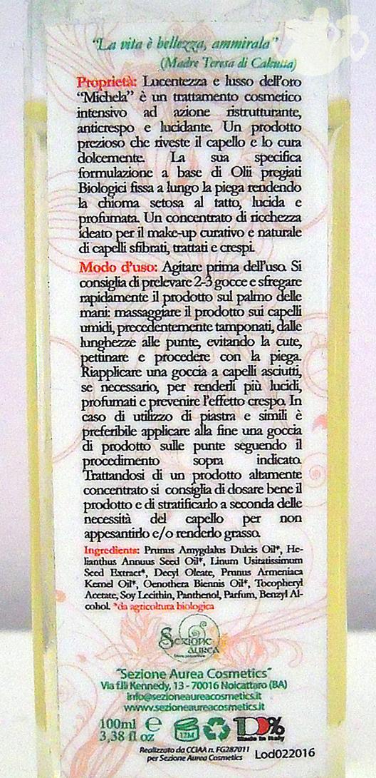 Michela Oro Divino, Sezione Aurea